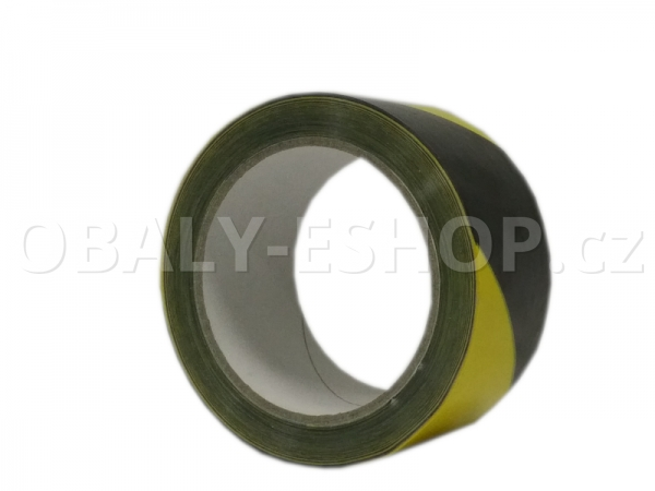 Výstražná lepicí páska PVC 50mmx66m 35µm Pruhy Žluto-černé Pravá