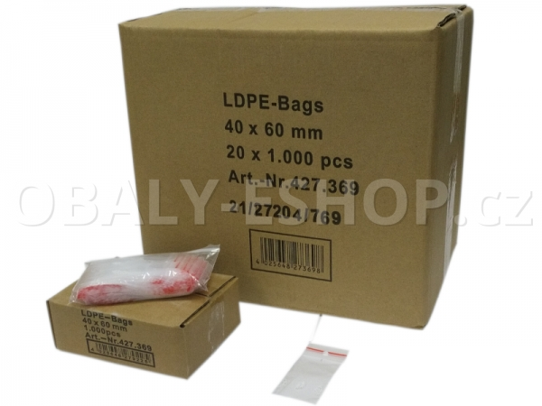 Sáček ZIP LDPE  40x60mm Rychlouzavírací 40µm