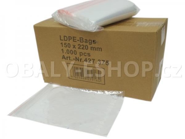 Sáček ZIP LDPE 150x220mm Rychlouzavírací 40µm