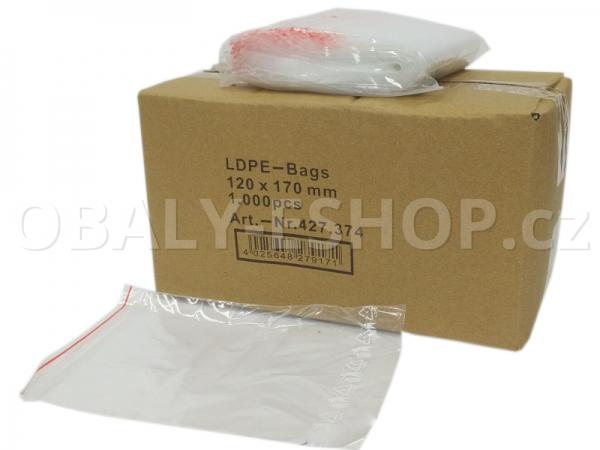 Sáček ZIP LDPE 120x170mm Rychlouzavírací 40µm