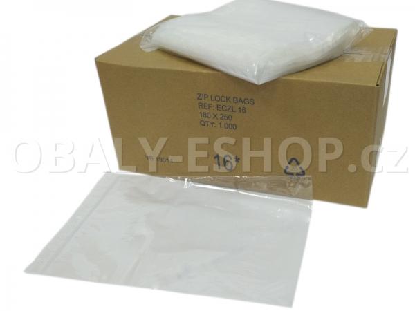 Sáček ZIP LDPE 180x250mm Rychlouzavírací 40µm