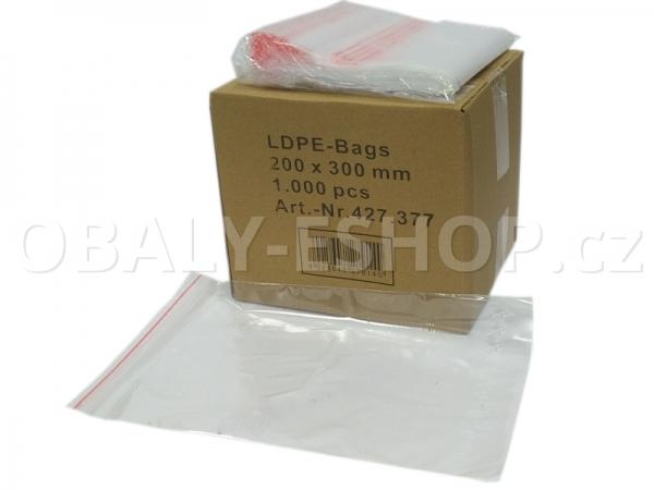 Sáček ZIP LDPE 200x300mm Rychlouzavírací 40µm