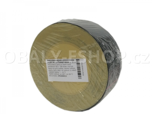 Parotěsná akrylová lepicí páska PROFI PE 60mmx25m Černá UV