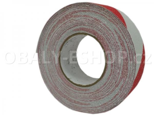 Protiskluzová samolepicí páska 50mmx18m Bílo-červená