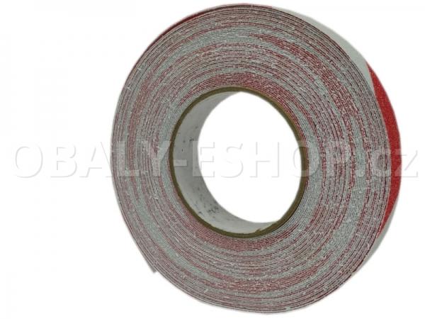 Protiskluzová samolepicí páska 25mmx18m Bílo-červená