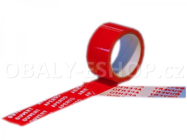 Bezpečnostní pečetící lepicí páska 50mmx50m OPENED červená
