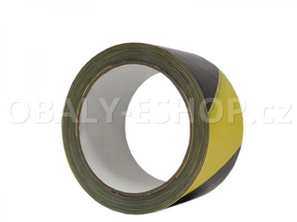 Výstražná lepicí páska PVC 50mmx66m 35µm Pruhy Žluto-černé Levá