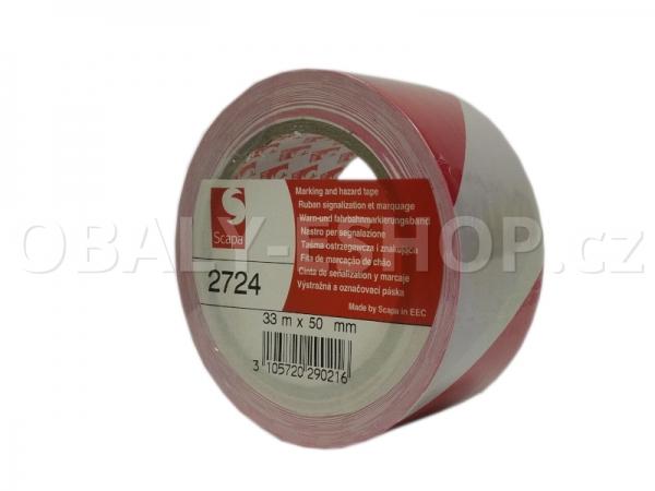 Výstražná lepicí páska PVC 50mmx33m 130µm Pruhy Bílo-červené