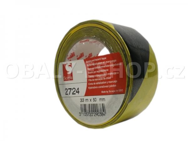 Výstražná lepicí páska PVC 50mmx33m 130µm Pruhy Žluto-černé